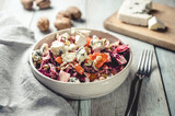 Food: Winter salad with fruit and cheese