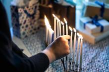 Hanukkah: Girl Puts Shamash Candle Back In Place
