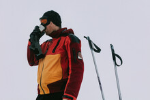 Skier Drinking Hot Tea
