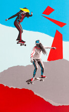Two Skateboarders Collage