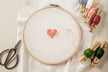 Embroidery Of A Heart With French Knots
