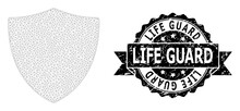 Scratched Life Guard Ribbon Stamp And Mesh Wireframe Protection Shield