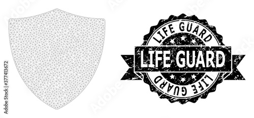 Valokuva Scratched Life Guard Ribbon Stamp and Mesh Wireframe Protection Shield