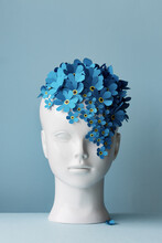 Female Head With Blue Forget-me-not Flowers