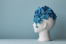 Female Head With Forget-me-not Flowers
