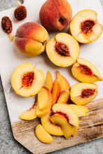Sliced Peaches Still Life