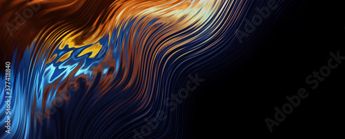 Abstract neon liquid. Abstract modern neon background. Multi-colored liquid, streaks, thermal imager. 3D illustration.