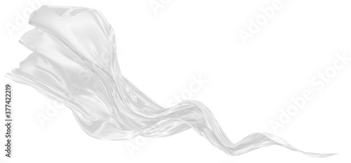 Obraz na plátně Beautiful flowing fabric of white wavy silk or satin