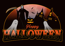 Halloween Decoration For Poster Or Banner. Background With Castle, Bats And Ghost, Grim Reaper. Vector