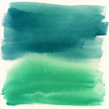Turquoise And Green Abstract W...