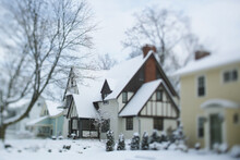 A Charming Neighborhood Covered With Fresh Snow