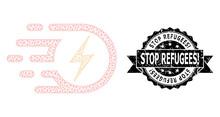 Grunge Stop Refugees! Ribbon W...