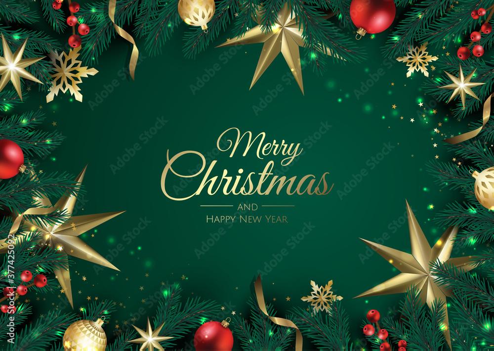 Fototapeta Merry Christmas background with christmas element. Vector illustration