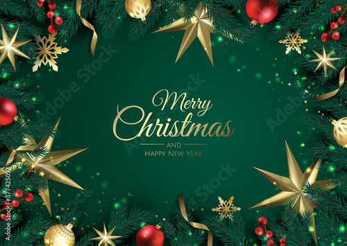 Fototapeta Merry Christmas background with christmas element. Vector illustration obraz