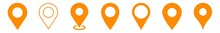 Location Pin Icon Orange | Map Marker Illustration | Destination Symbol | Pointer Logo | Position Sign | Isolated | Variations