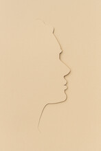Woman Side Face Illustration Paper