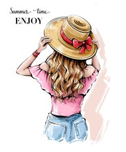 Hand Drawn Young Woman In Summer Hat. Beautiful Blonde Hair Girl. Girl With Beautiful Long Hair. Sketch.