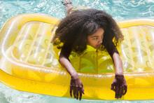 African American Girl On Yello...