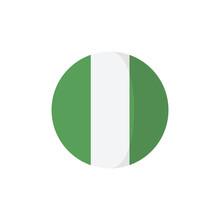 Nigeria Circle Flat Icon Isolated On White Background