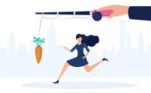 Vector Of A Business Woman Running Towards A Dangling Carrot