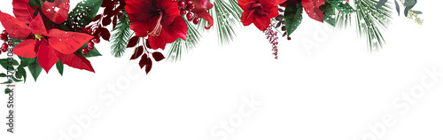 Emerald christmas greenery, red poinsettia, amaryllis, spruce, fir vector design Wallpaper Mural