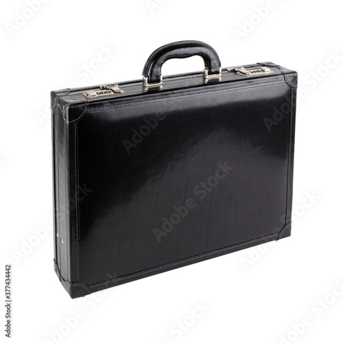 New black leather briefcase on white background Canvas Print