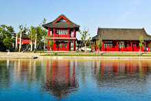 Red Pavilion At Riverside In Guangfulin Ancient Relic Park Shanghai China