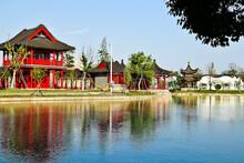Red Pavilion At Riverside In G...