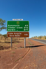 Road Sign In The Kimberley Giving Distances To Northern Towns