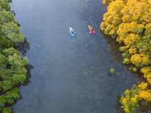 Looking Down On Kayakers Paddl...