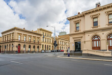 Historic Buildings On A Street Corner In Ballarat.