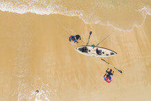 Aerial View Of Two People Laun...