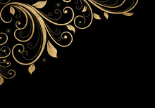 Black Minimalistic Abstract Background. Business Presentation, Web Banner Backdrop. Swirls With Golden Effect.