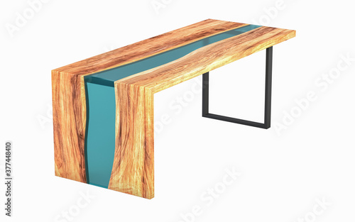 Obraz Live edge wooden table with green epoxy resin on a white background. 3D rendering - fototapety do salonu