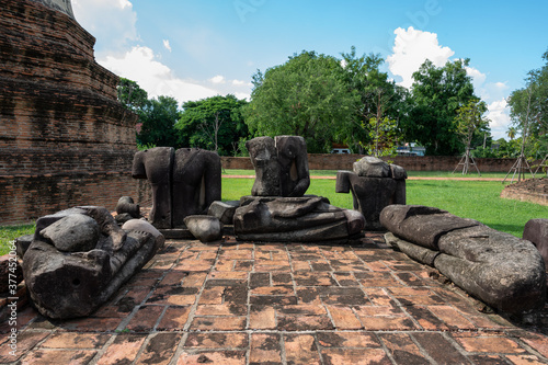 Ayutthaya / Thailand / August 8, 2020 : Wat Ratchaburana, Ancient Buddhist temple remains with elaborate carvings & a restored tower & tomb Canvas Print