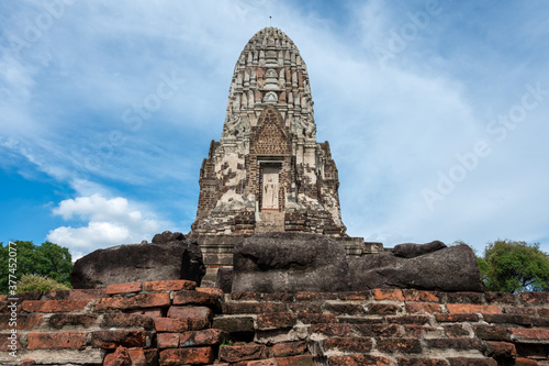Ayutthaya / Thailand / August 8, 2020 : Wat Ratchaburana, Ancient Buddhist temple remains with elaborate carvings & a restored tower & tomb Wallpaper Mural