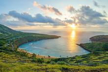 Sunrise Over The World Famous And Popular Snorkeling Spot Of Hanauma Bay On Oahu, Hawaii
