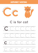Tracing Alphabet Letter C With Cute Cartoon Cat.