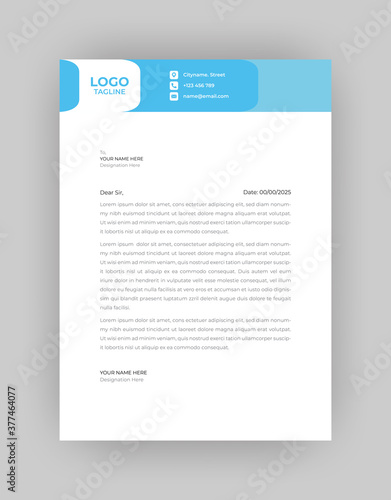 Fototapeta Professional And Modern Business Style, Flat Letterhead Design Template Vector