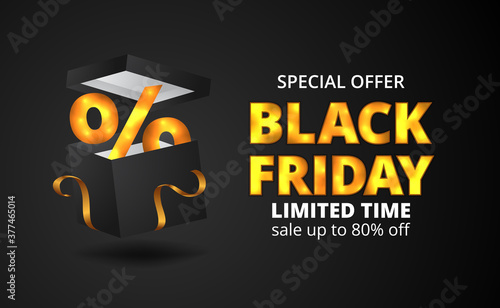 Fototapeta black friday sale discount event poster banner template with 3d black box present with golden ribbon obraz
