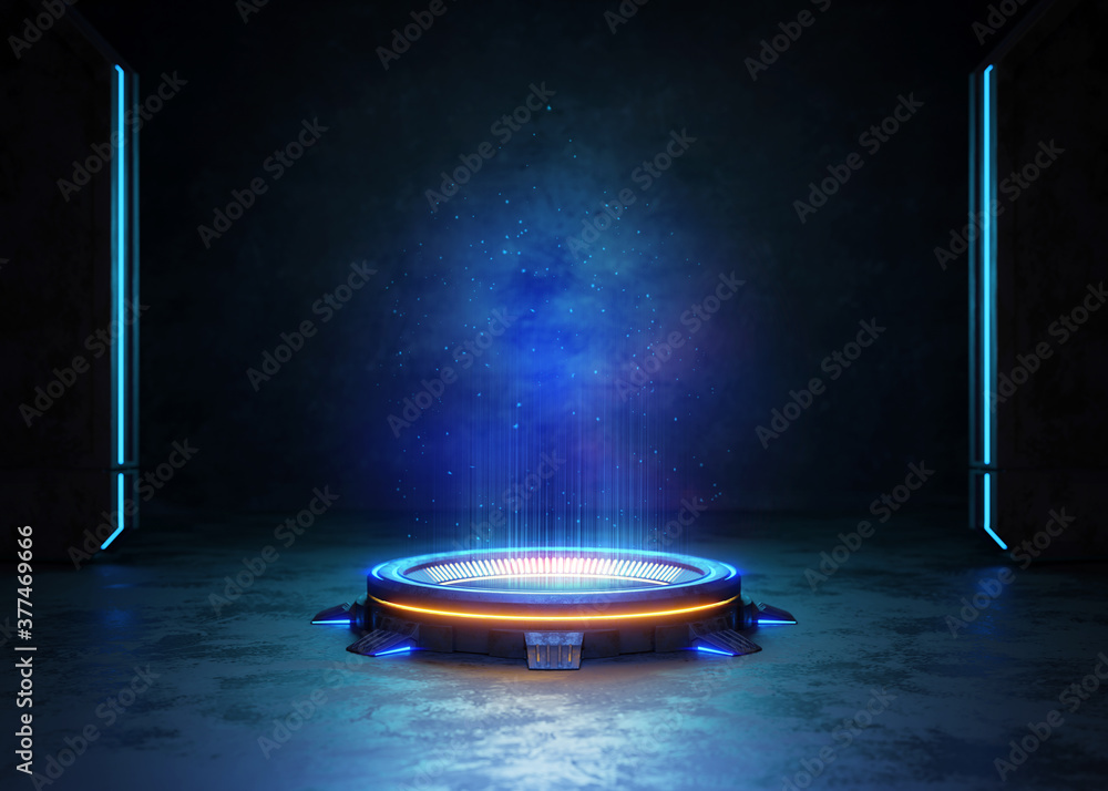 Abstract background, Futuristic pedestal for product presentation, Display modern