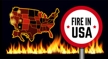 Fire In USA Infographic Map. Vector Illustration