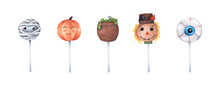Variety Of Halloween Cake Pops On White Background. Watercolor Illustration. Happy Halloween Scary Sweets.