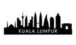 Kuala Lumpur skyline silhouette. Black Kuala Lumpur city design isolated on white background.