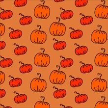 Autumn Pettern Pumpkin Vector Illustration