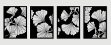Ginkgo Leaves Cover Design Background Vector. Luxury Floral Art Deco. Gold Natural Wall Art And  Pattern Design. Vector Illustration.