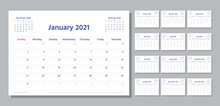 Planner 2021 Year. Week Starts Sunday. Calendar Template. Vector. Modern Schedule Grid. Yearly Stationery Organizer. Calender Layout. Horizontal Orientation. Monthly Corporate Diary. Illustration.