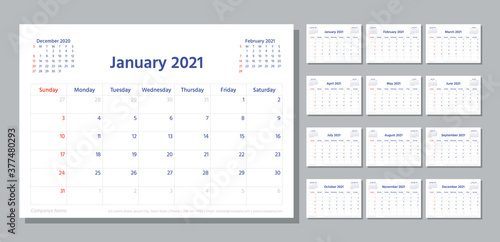 Obraz Planner 2021 year. Week starts Sunday. Calendar template. Vector. Modern schedule grid. Yearly stationery organizer. Calender layout. Horizontal orientation. Monthly corporate diary. Illustration. - fototapety do salonu