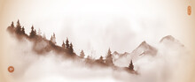Mountain Slope With Pine Trees In Fog. Traditional Oriental Ink Painting Sumi-e, U-sin, Go-hua In Vintage Style. Translation Of Hieroglyph - Silence