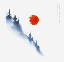 Blue Mountain Slope With Pine Trees In Fog And Big Red Sun. Traditional Oriental Ink Painting Sumi-e, U-sin, Go-hua In Vintage Style.